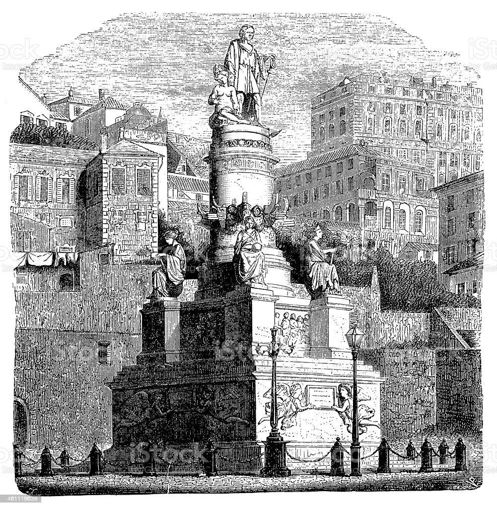 Columbus monument in Genoa vector art illustration