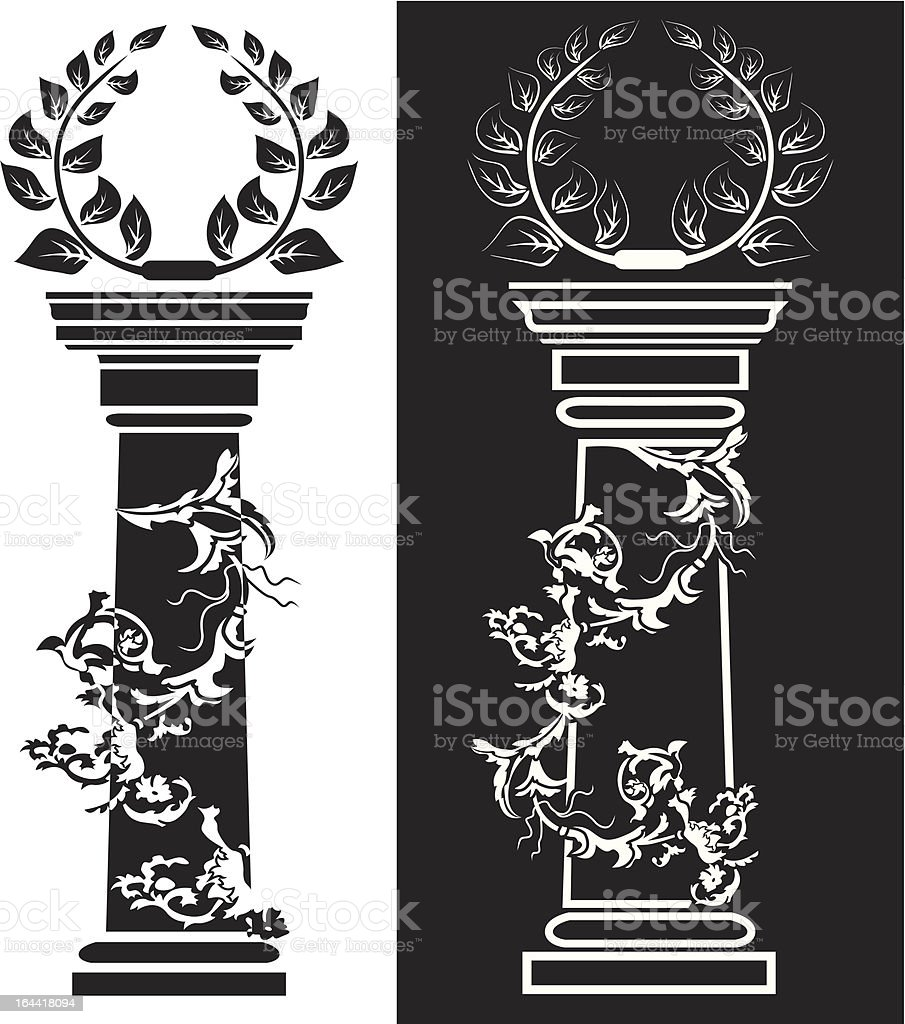 Column with a laurel wreath royalty-free stock vector art