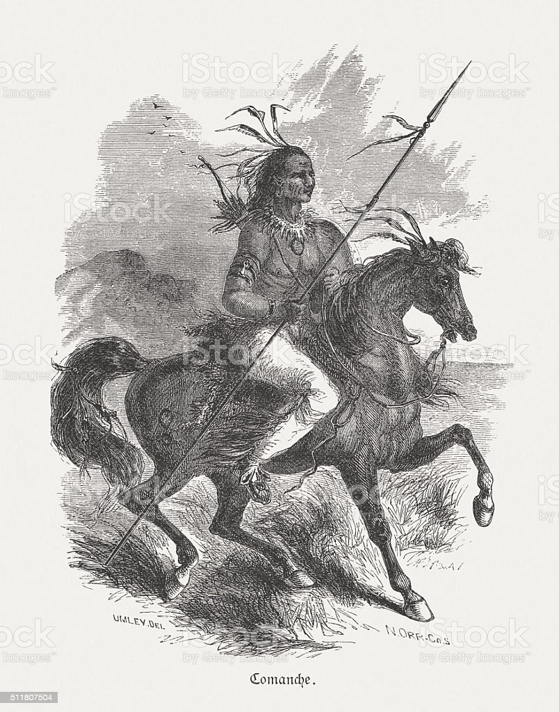 Comanche, North american native, wood engraving, published in 1880 vector art illustration