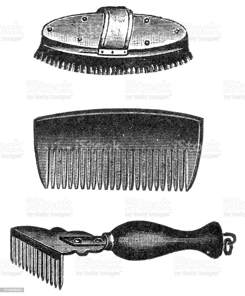 comb and brush vector art illustration