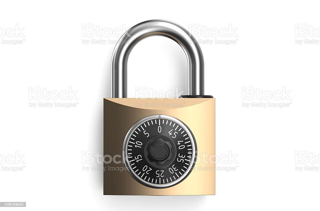 Combination lock closeup vector art illustration