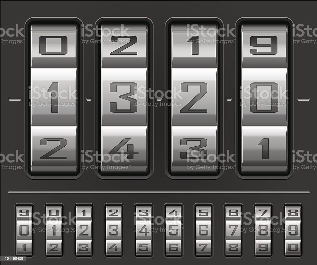 Combination lock wheels royalty-free stock vector art