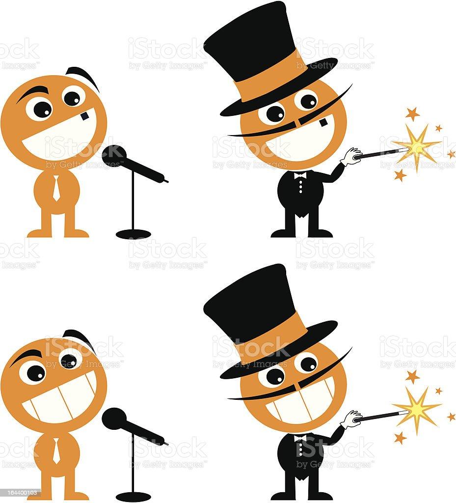comedian magician cartoon royalty-free stock vector art