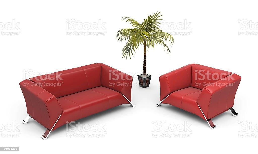 Comfortable sofa and armchair royalty-free stock vector art