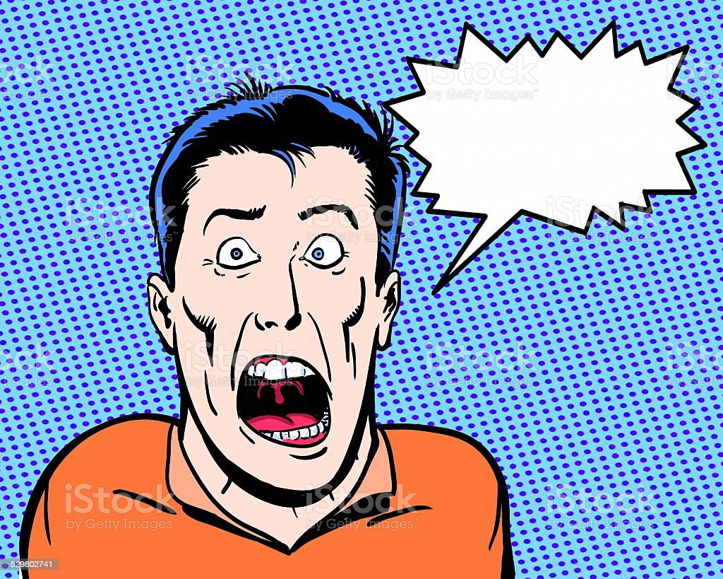 comic book illustrated crazy character shouting with blue background vector art illustration