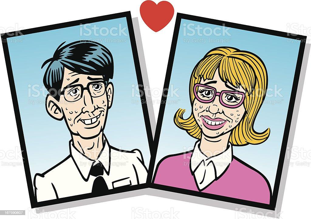 Comic Nerds In Love royalty-free stock vector art