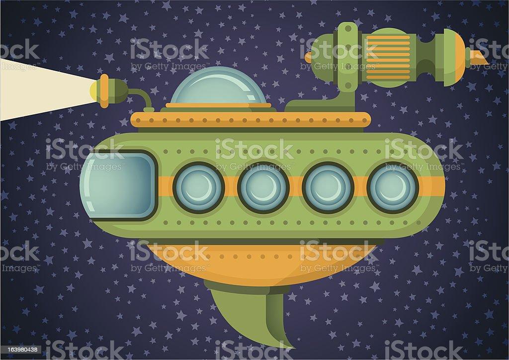 Comic spaceship. royalty-free stock vector art