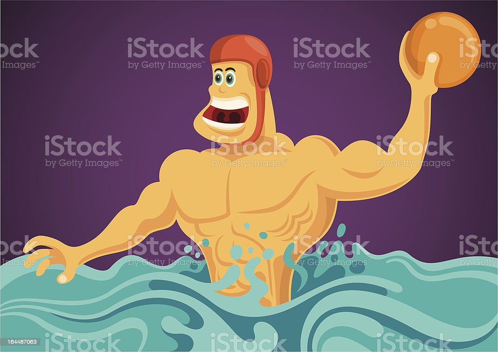 Comic water polo player. royalty-free stock vector art