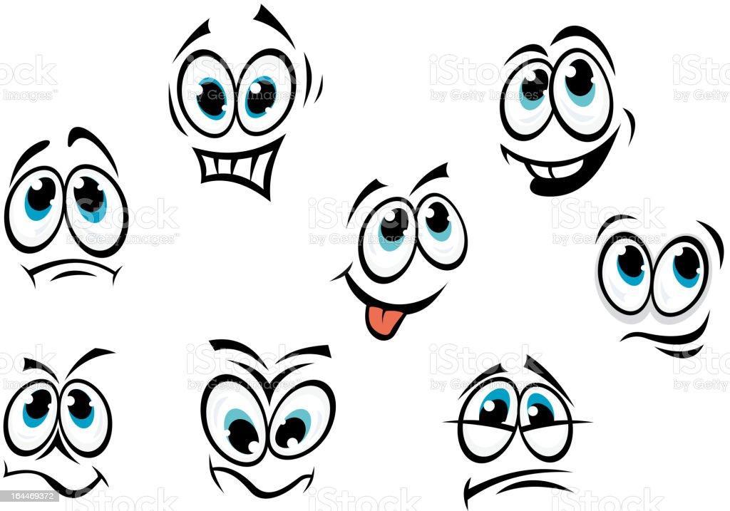 Comics cartoon faces vector art illustration