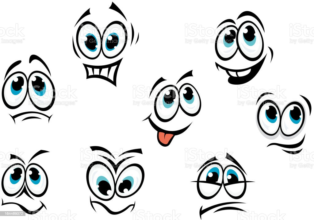 Comics cartoon faces vector art illustration