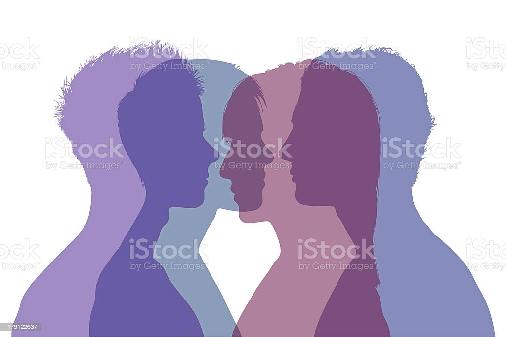 comlpicated couple relationships vector art illustration