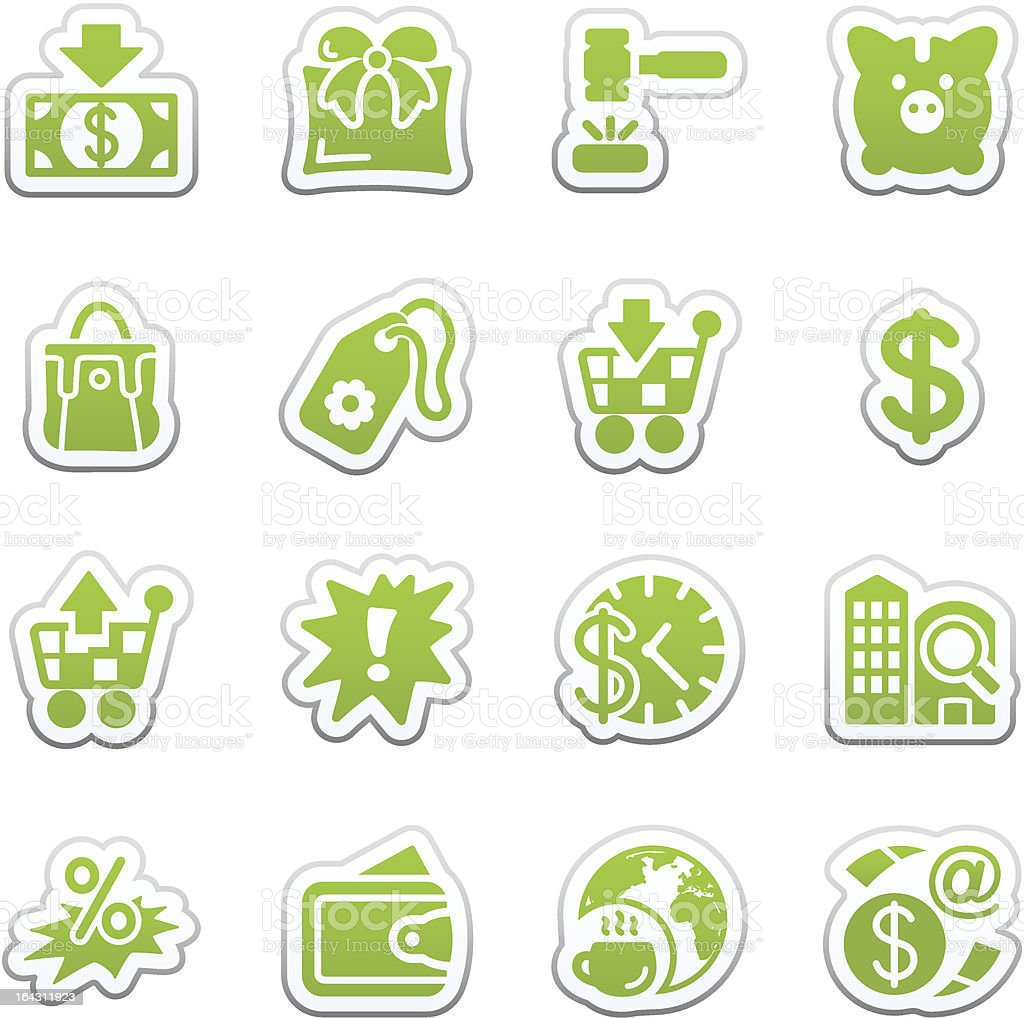 Commerce icons. Green sticker royalty-free stock vector art