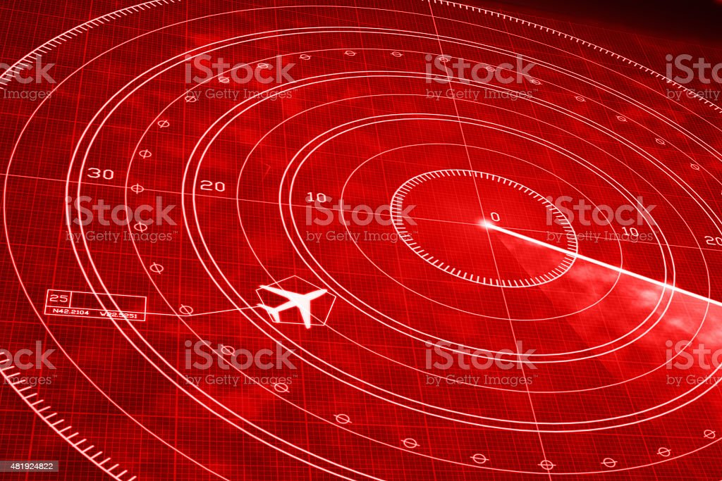 Commercial airplane flight simulator on red radar display vector art illustration