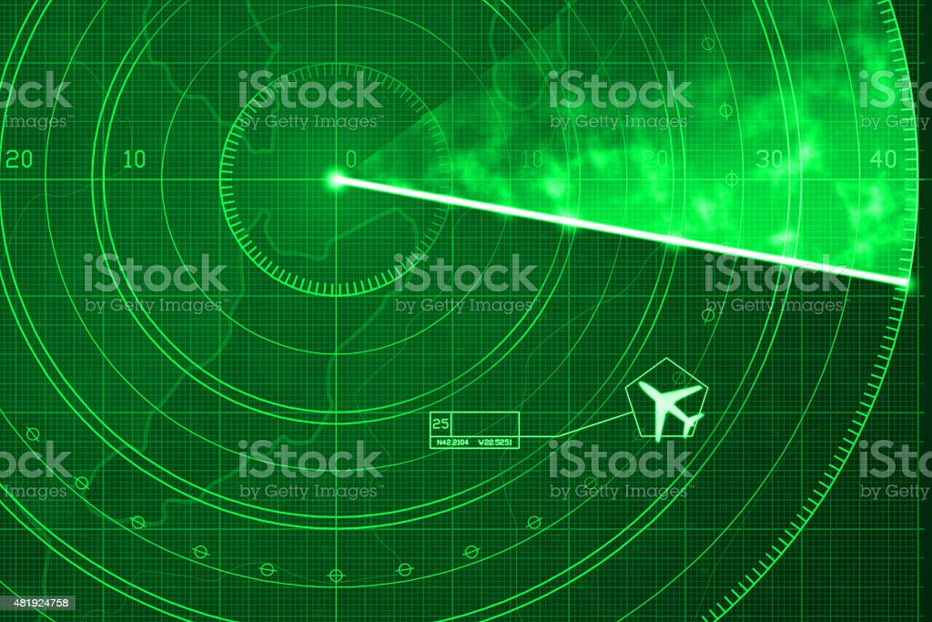 Commercial jet aircraft on green digital radar with coordinates vector art illustration