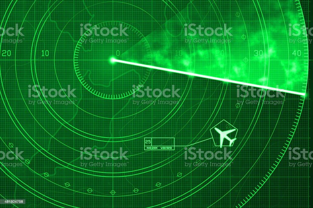 Commercial jet aircraft on green digital radar with coordinates vector art illustration