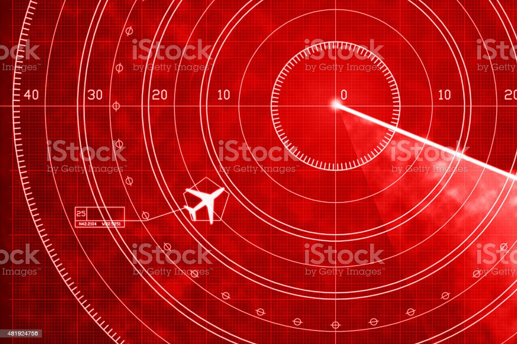Commercial jet aircraft on red digital radar with coordinates vector art illustration