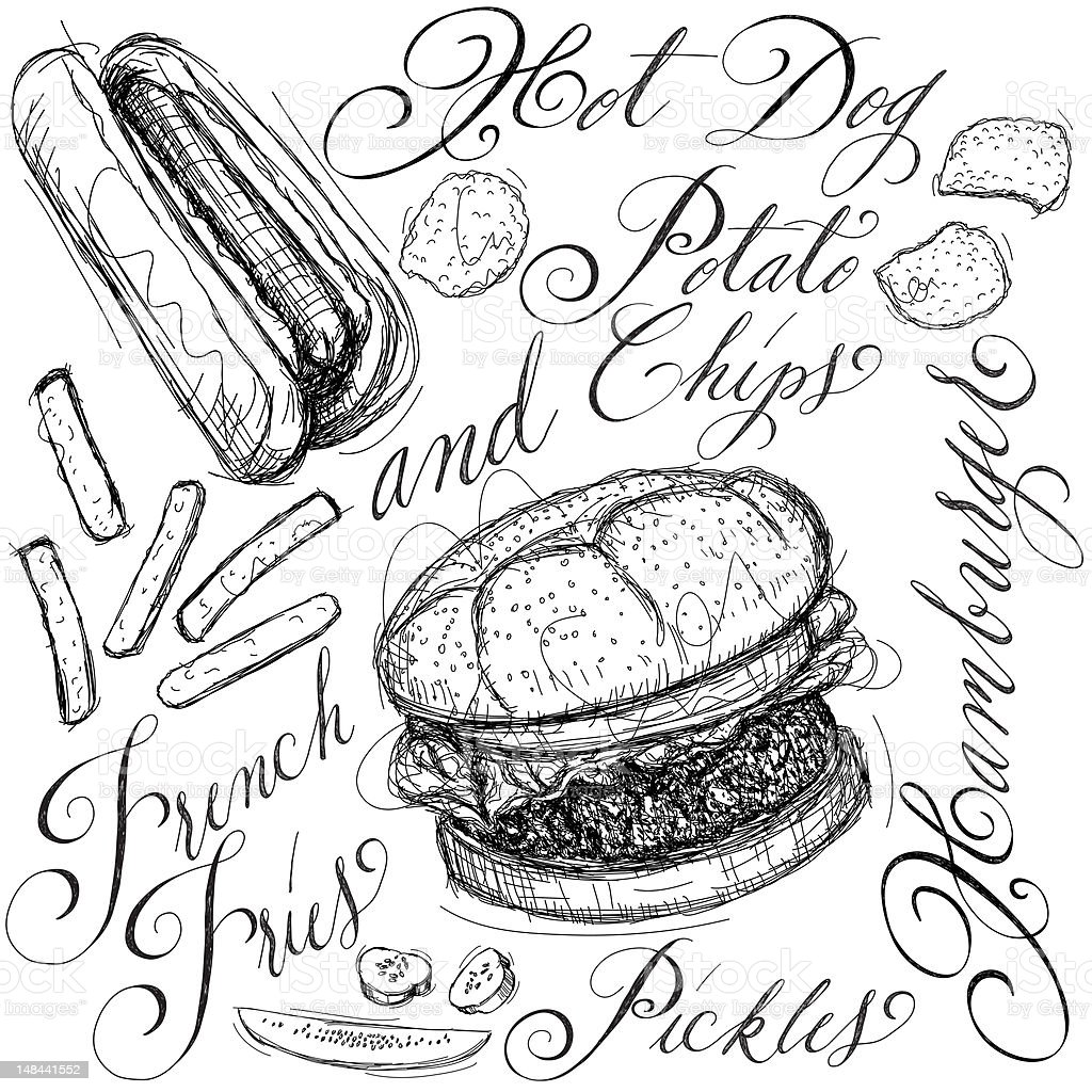 Common fast food items depicted in scrolled text and picture royalty-free stock vector art