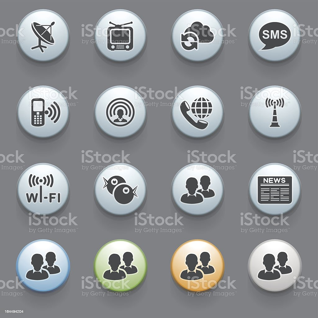 Communication icons with color buttons on gray background. Set 1. royalty-free stock vector art