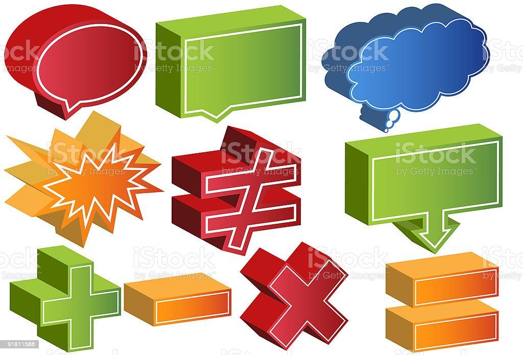 3D Communication Shapes vector art illustration