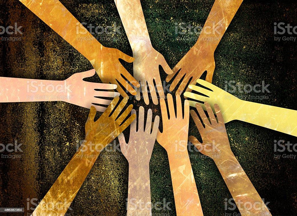 Community of Hands vector art illustration