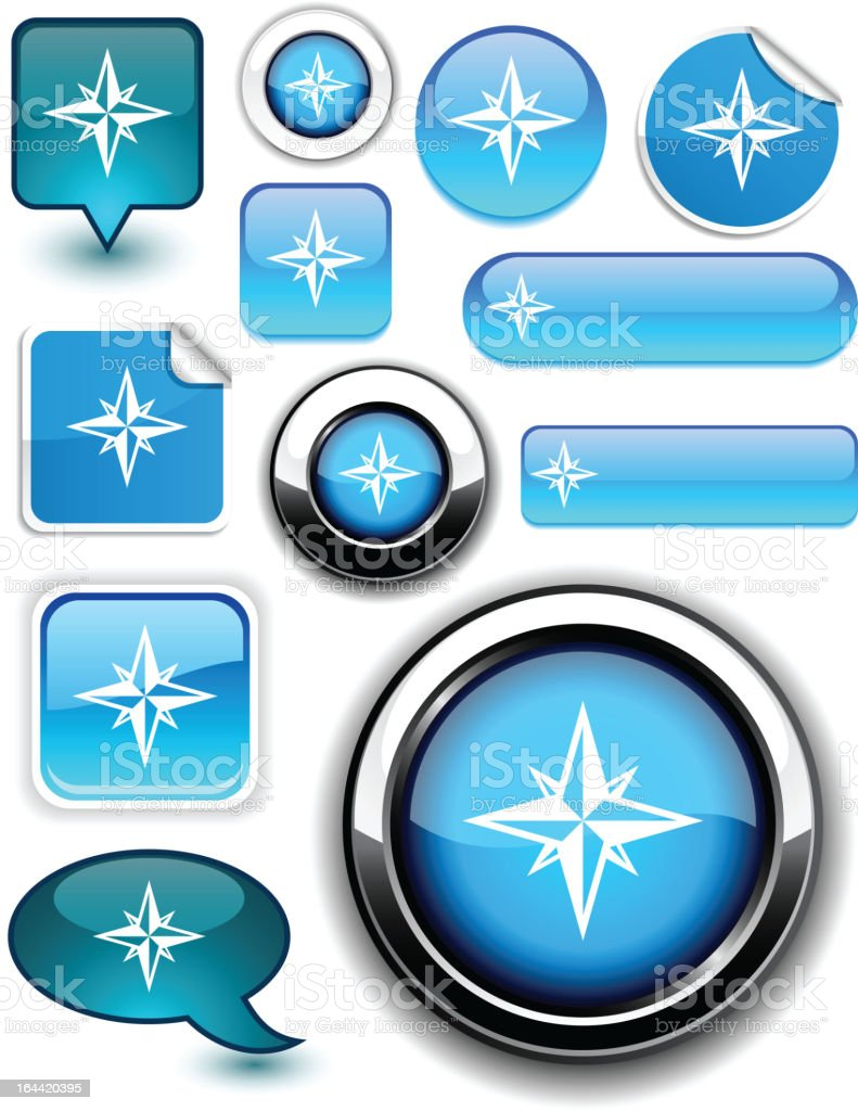 Compass blue signs. royalty-free stock vector art