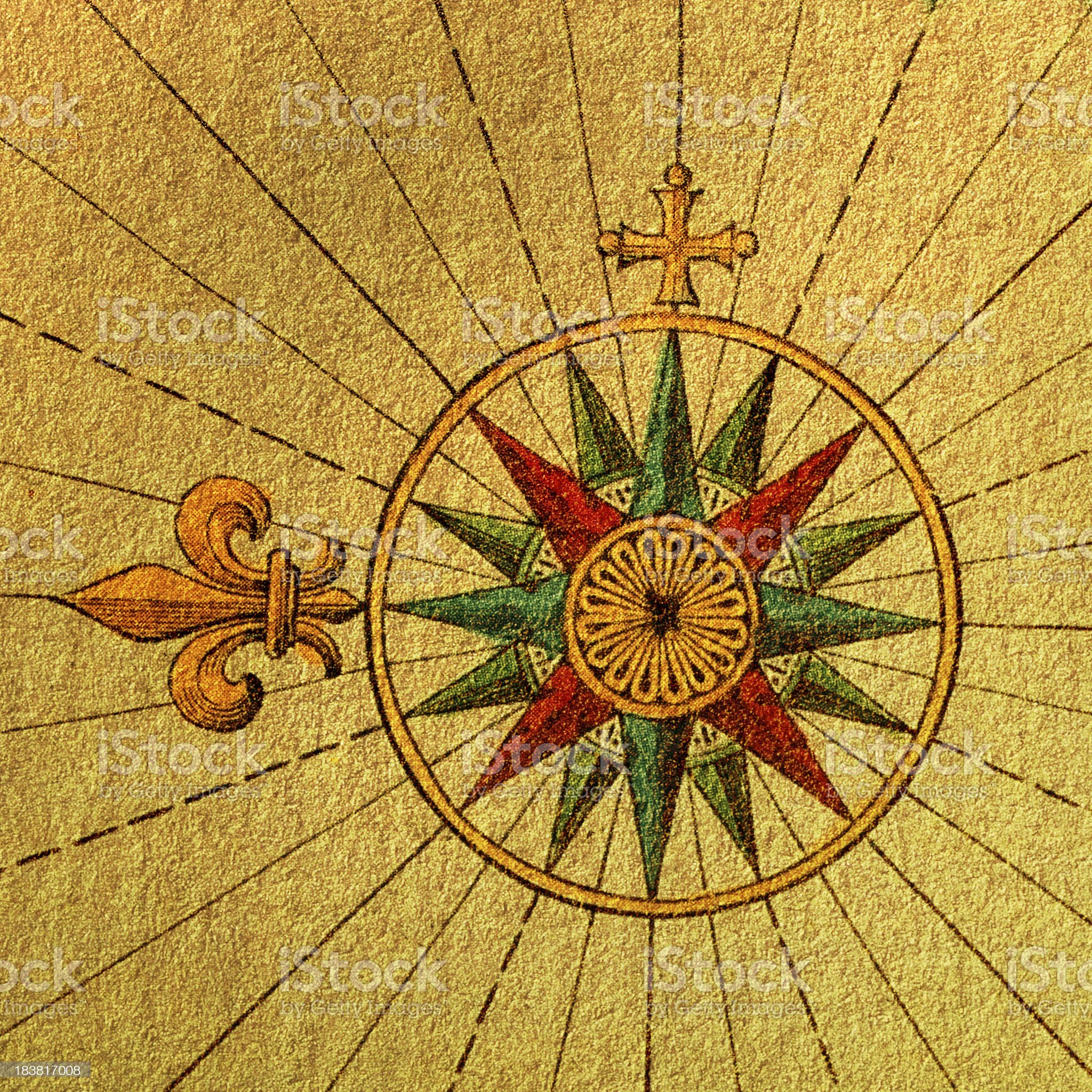 Compass Rose on Old Paper royalty-free stock vector art