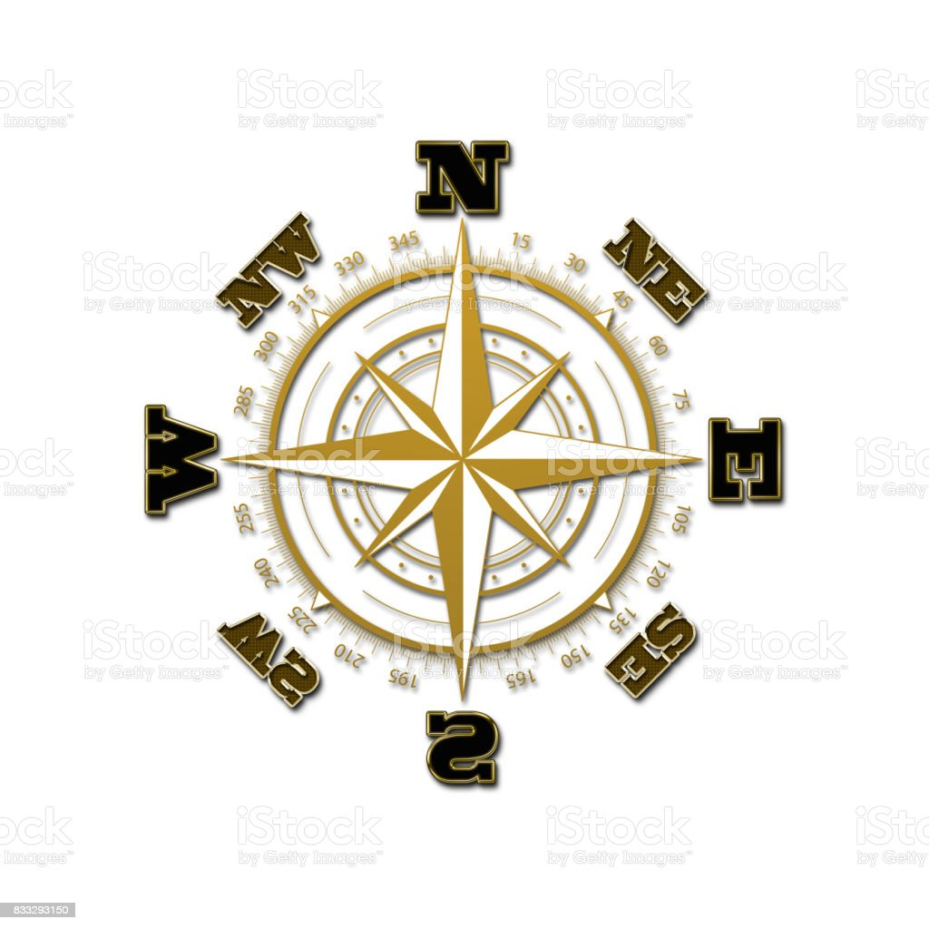 Compass, wind rose, isolated against the white background. vector art illustration