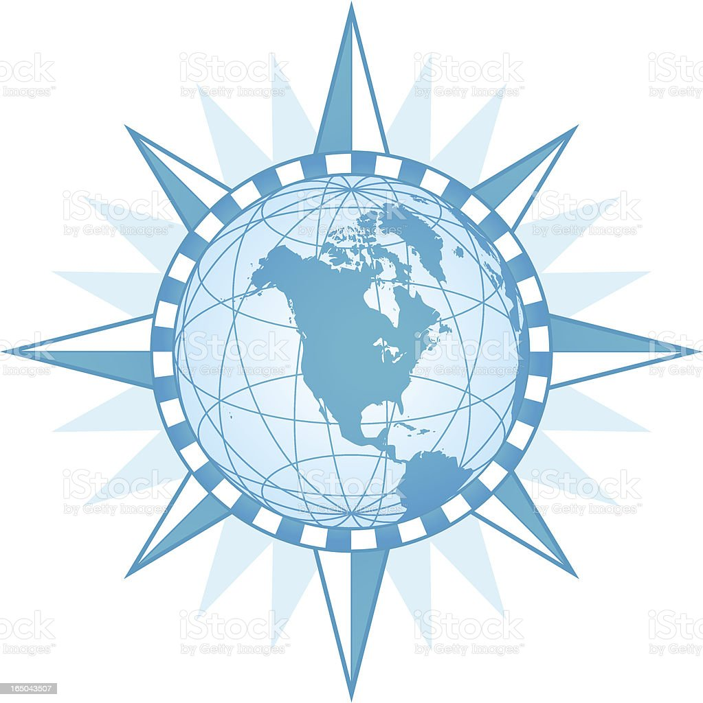 Compass World - North America ( vector & jpg ) vector art illustration