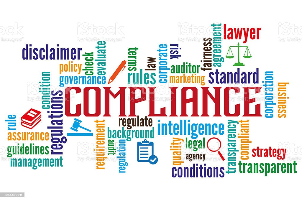 Compliance Word Cloud with Icons vector art illustration