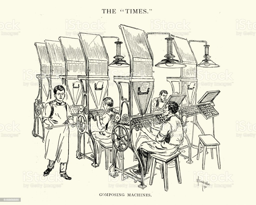 Composing machines at the Times Newspaper, 1892 vector art illustration
