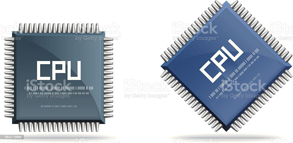 CPU (central processing unit) - Computer chip vector art illustration