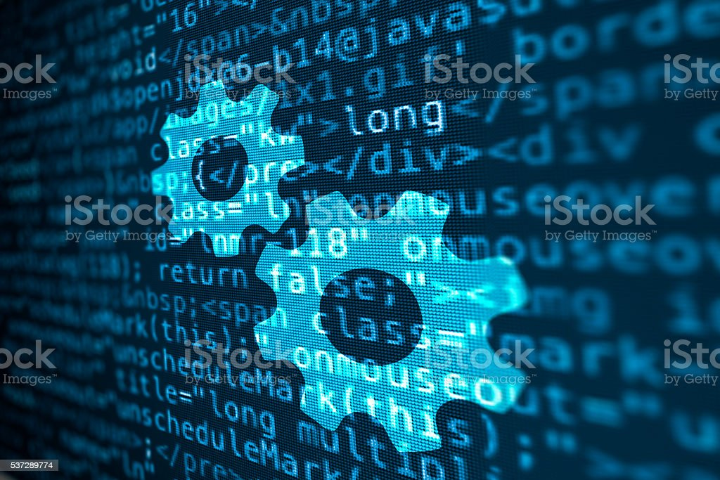 Computer data code screen with gear wheel icon stock photo