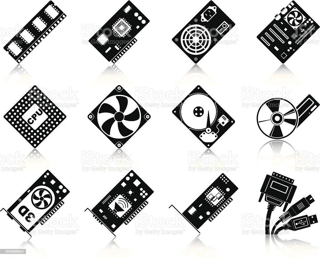 Computer hardware icons royalty-free stock vector art