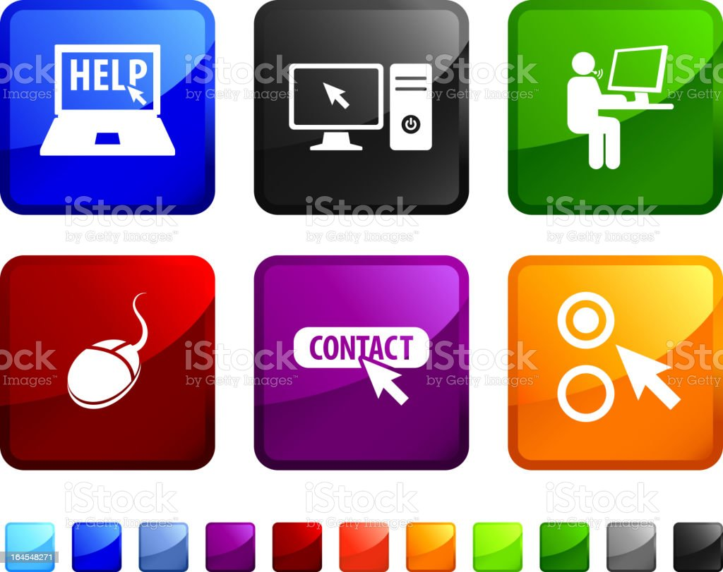 computer help and support royalty free vector icon set stickers royalty-free stock vector art
