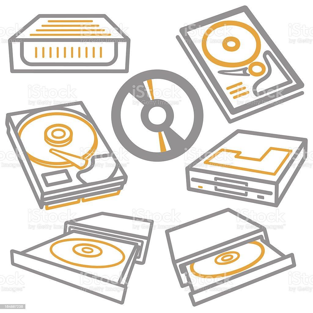 Computer Icons: CD Drives, Hard Disk (Vector) royalty-free stock vector art
