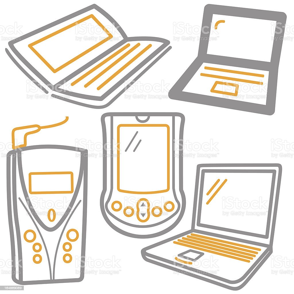 Computer Icons: Laptops, GSM, Palm (Vector) royalty-free stock vector art