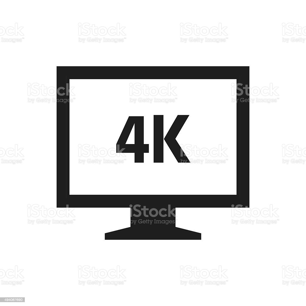 Computer Monitor icon on a white background. - SingleSeries vector art illustration