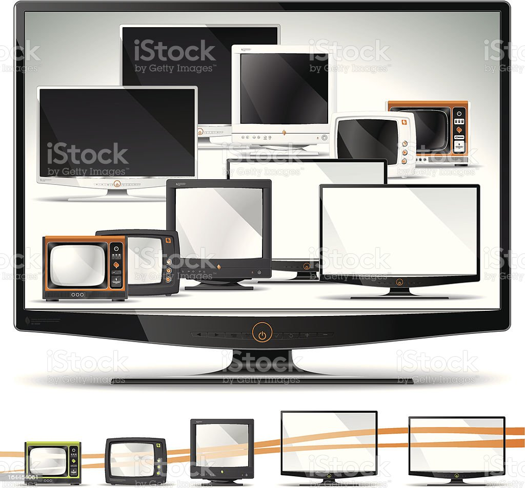 Computer Screen Collection - CRT, Plasma, LCD, LED, TFT royalty-free stock vector art