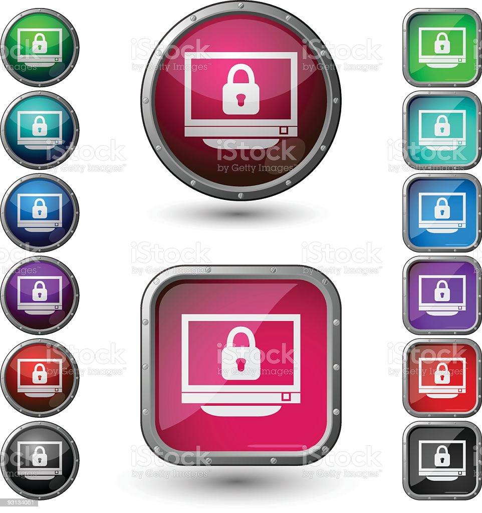 Computer security - glossy buttons with steel frame. royalty-free stock vector art