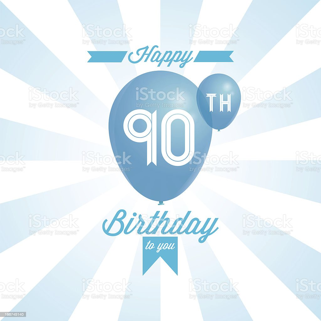 Computerized happy birthday background in blue. royalty-free stock vector art