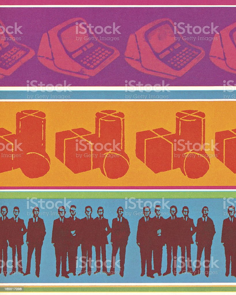 Computers, Packaging, and Businessmen royalty-free stock vector art