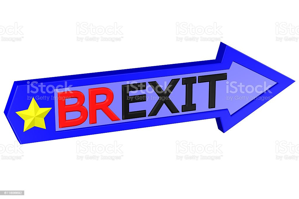 Concept: arrow with the word Brexit. 3D rendering. vector art illustration