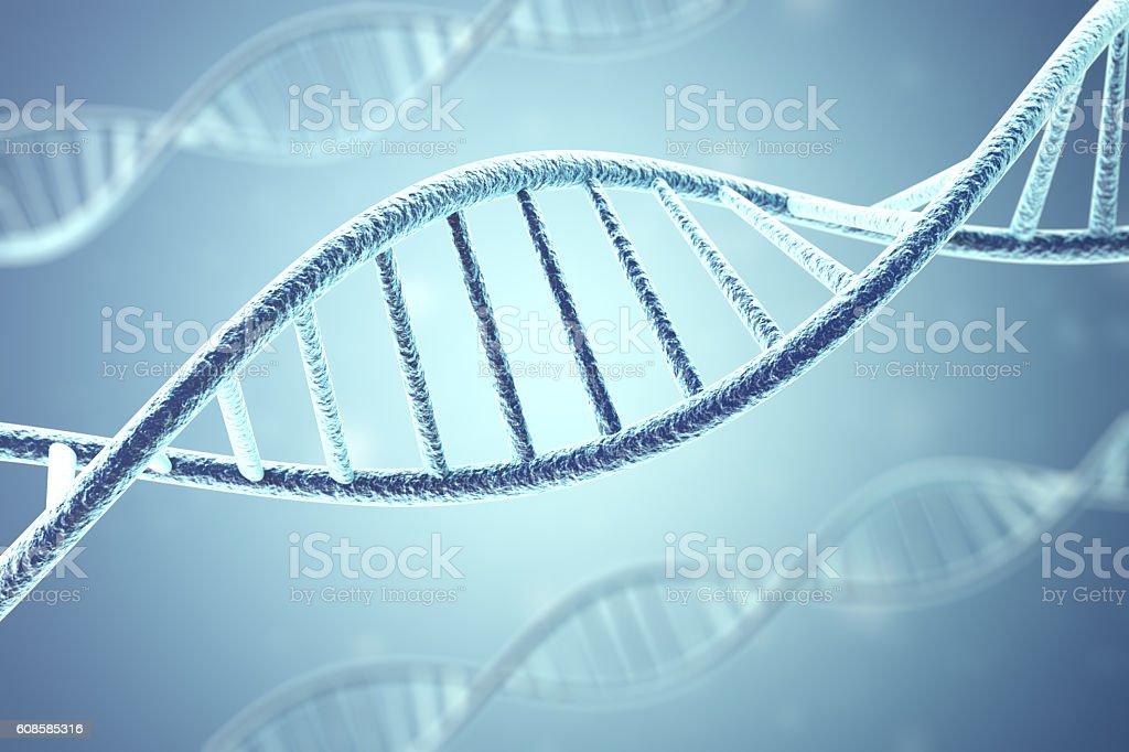 Concept of biochemistry with dna molecule. 3d rendering vector art illustration