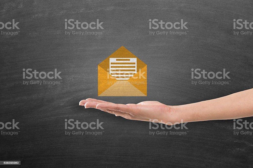 Concept of E-mail on blackboard vector art illustration