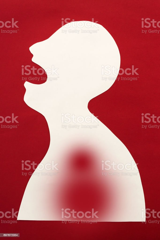concept of sickness and pain on silhouette - abstract patient with disease of upper respiratory tract, inflammation, infection, open scream mouth, isolated on red background, top view, flat lay vector art illustration