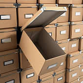 concept organization ofisnіe boxes as background with one open