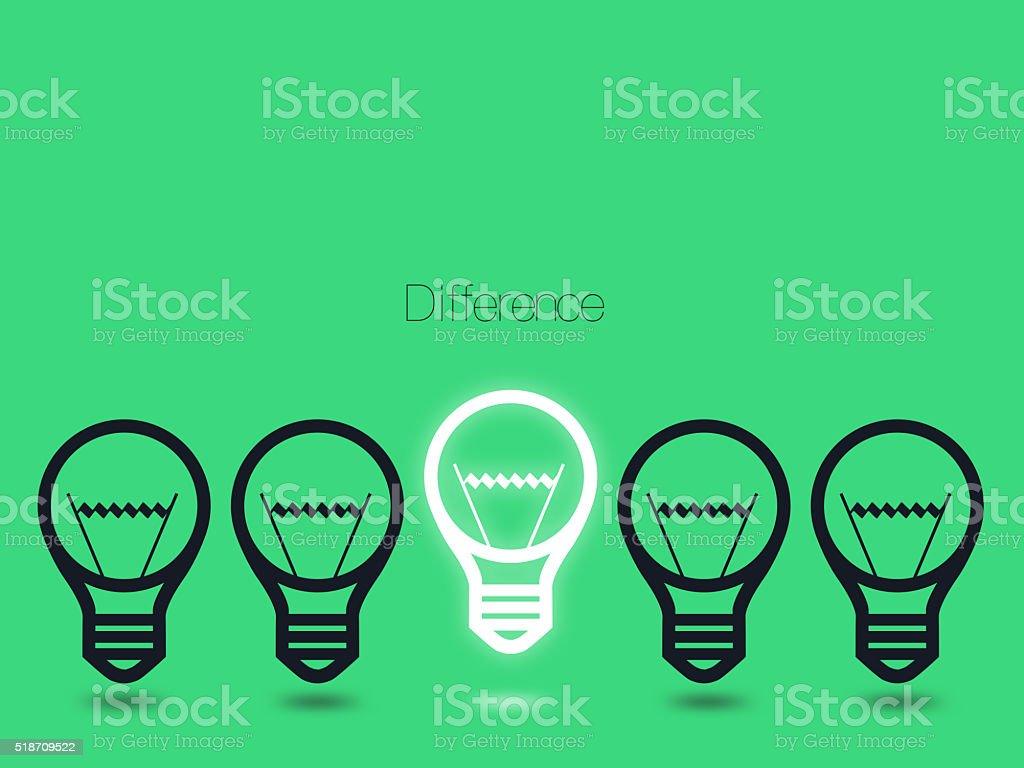 conceptual ideas with light bulbs vector art illustration