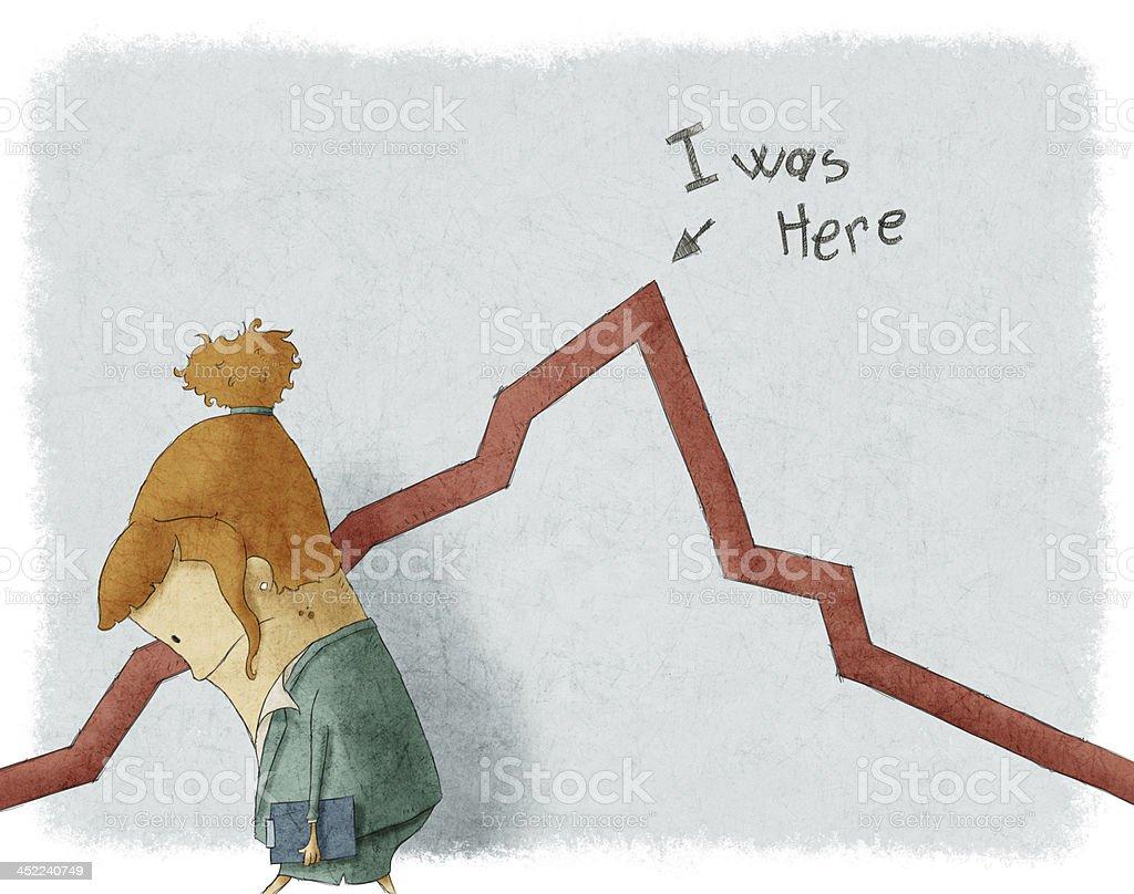 Conceptual illustration of a businesswoman's sadness vector art illustration