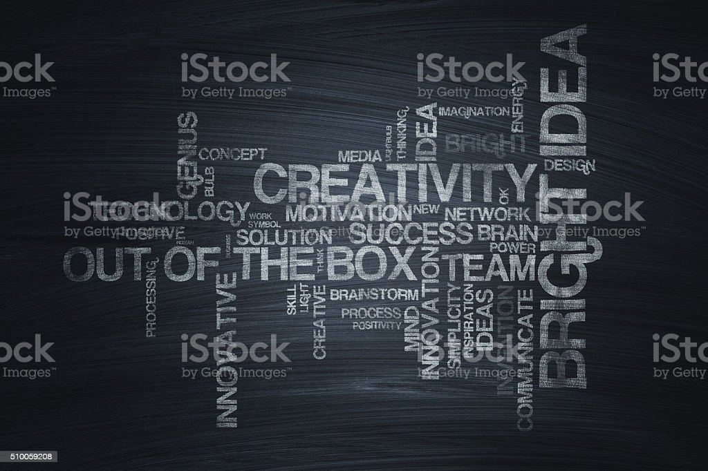 Conceptual Word Cloud on Blackboard vector art illustration