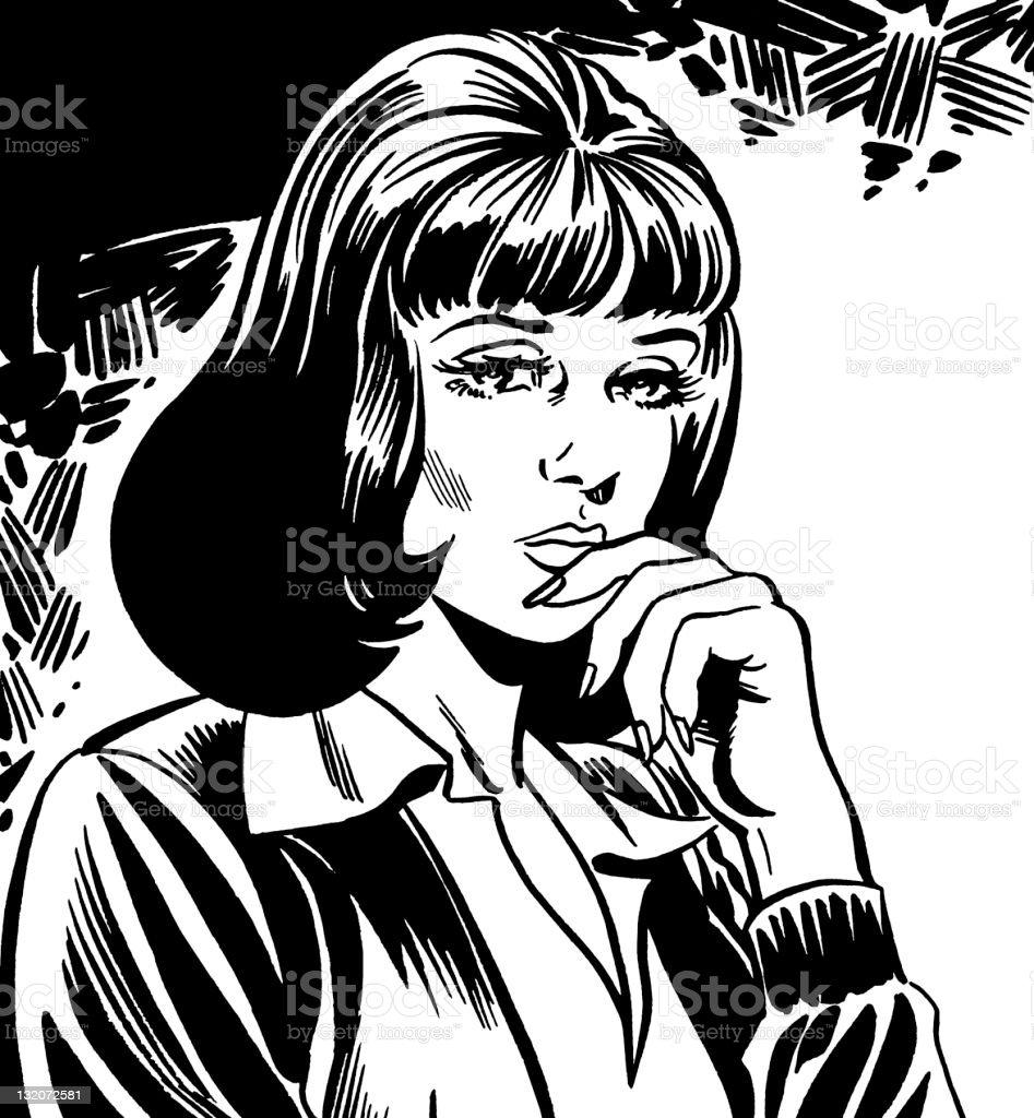 Concerned Dark Haired Woman vector art illustration